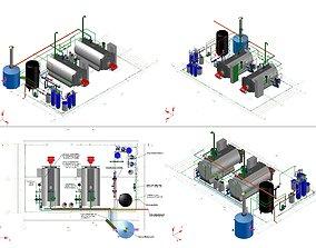 steam boiler room 4 t steam per hour 3D model flange