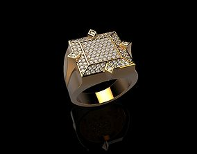 18K Yellow Gold Diamond Rings for Men 3D printable model