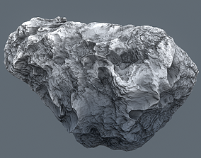 3D model low-poly Meteor Asteroid Rock 4K