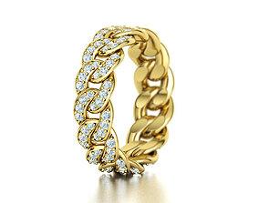3D print model DIAMOND Cuban Link Chain Ring 5