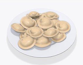 3D Dumplings on white plate