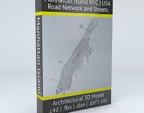 Manhattan Island in New York City Road Network 3D model 1