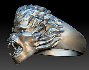 3D printable model head monkey ring Zodiac