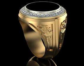 Mens Ring with Angels 3D printable model