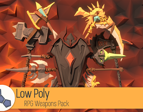 Low Poly RPG Weapons Pack 3D model