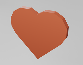 Low polly heart 3D asset