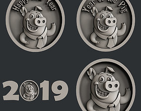3d STL models for CNC set new year pig