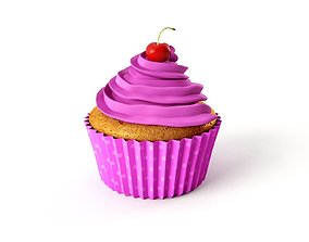 Cupcake Muffin With Sherry on Top - Pink Polka Dot 1