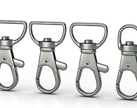 animated Set of 4 Metal Carabiner LowPoly Low-poly 3D 1