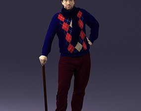 Male in a top hat with a walking stick 3D model
