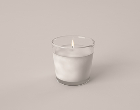 3D model candle in minimalistic glass container