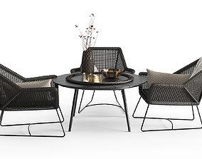 Modern Outdoor Braided Furnitures Set 3D