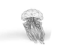 Jellyfish Wireframe 3D asset