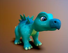 cartoon baby stegosaur 3D asset