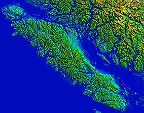 Digital terrain elevation model of Vancouver Island