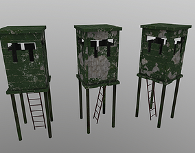 Watchtower 3D model low-poly PBR prison