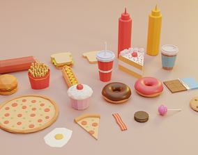 3D asset Low Poly Food Vol 2 - Fast Food