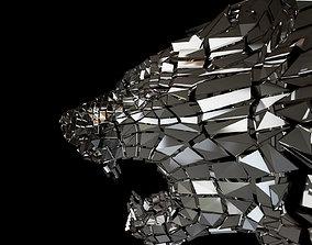 3D asset Abstract Beast Lion braked glass siluet