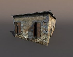 3D model game-ready Derelict house low poly 75