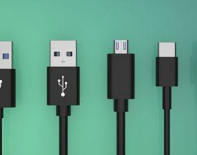 USB-A type c USB Micro USB Lightning 3D