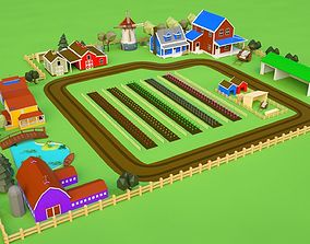 3D asset farm house farm lowpoly