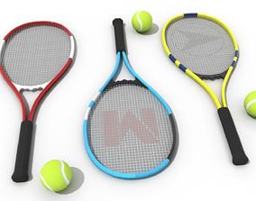 3D asset Tennis Racket and Tennis Ball