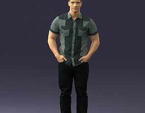 Young man in shiny trousers 0384 3D print model