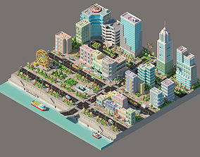 Low poly city with various buildings on the 3D model 3