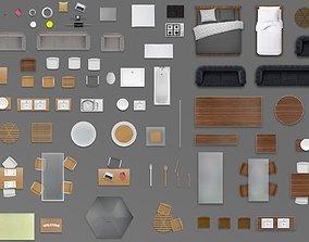 2d furniture floorplan top view PSD 3D model render wood