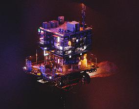 Cyberpunk Flying Apartment 3D