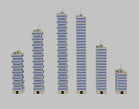 3D asset Toon Skyscrapers Pack 2