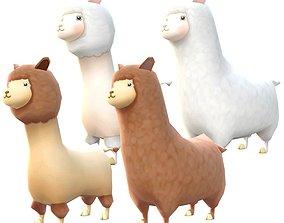 Lowpoly Animal Cartoon - Alpaca 3D model
