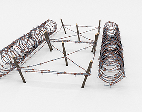 Low Poly Barb Wire Obstacle 3D model game-ready