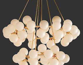 3D model Arya 70 Light Satin Gold Chandelier