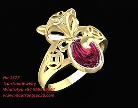 3D print model 1577 Fox Ring with Ruby