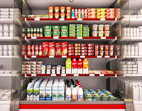 3D model Refrigerated showcase Fortune milk