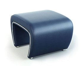 Retro Curved Armchair With Legs 3D