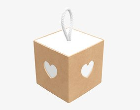 3D Cube paper gift packaging with lace 02