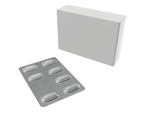Pills with paper box package 02 3D PBR