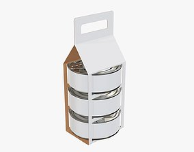 Food carrier tin can package 3D model