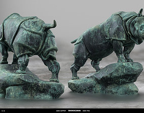 low-poly Rhino Rhinoceros Statue - 3D PBR model
