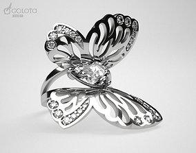 3D print model White Butterfly ring