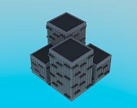 3D asset LowPoly Buildings Square