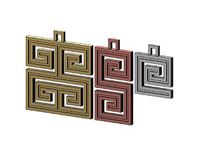 3D print model Greek key patterns pendant and charms