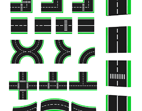 low-poly Road Systems FOR GAME 3d model
