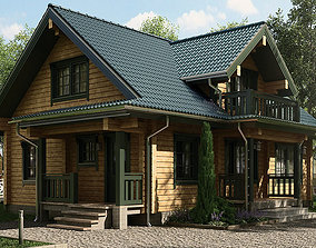 3D Classic Private Log House 195m