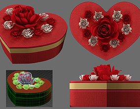 red box heart and flowers 3D