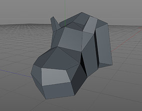 low poly head of a hippopotamus 3D printable model
