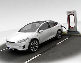 3D asset Tesla X plus Supercharger