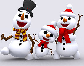 3DRT-Crazy dancing snowmen animated realtime